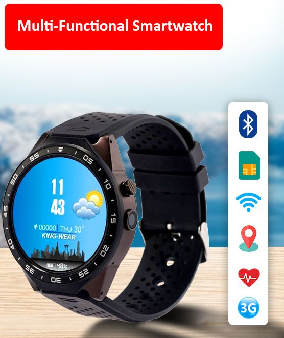 KingWear KW88 3G WiFi Smart Watch Phone Bluetooth Heart Rate Monitor GPS  Camera for Android iOS – Black
