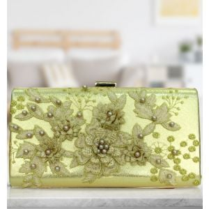 Lacoco CY-489 Golden Flower Pearl Desing Ladies Wallet -Gold